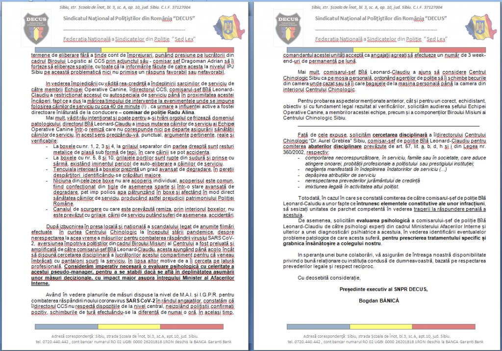 Petiția adresată MAI și IGPR