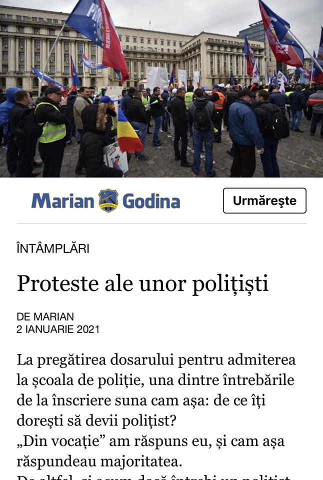 Articolul scris pe blogul personal al lui Marian Godină